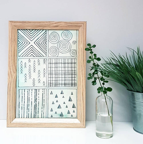Geometric patterned wall art for the home. Originally a commission piece for a living room.