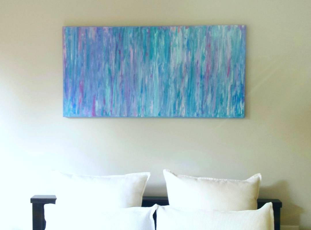 "Blue abstract art work titled ""Spring Rain"" painted by Melbourne artist Jacinta PAyne."