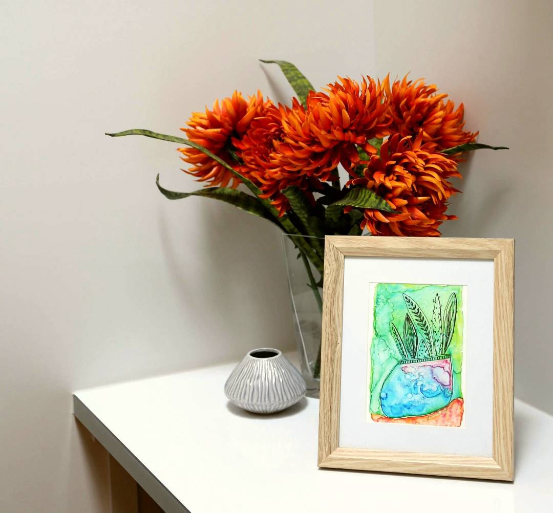Cactus Art Prints, Potted Succulent Green art print