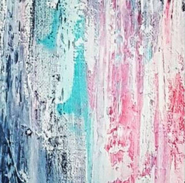Modern Contemporary Wall Art in aqua, pink and grey. Perfect for bedroom or guest room.