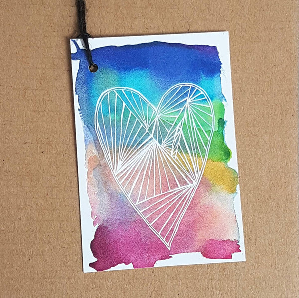 Rainbow Heart Gift Tags set of 5