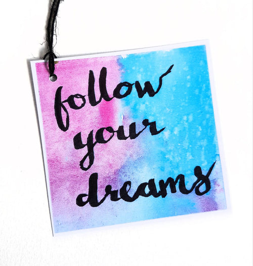 Minnie&Lou gift tag collection - Follow Your Dreams motivational gift tag