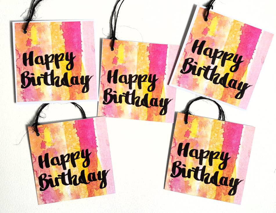 Happy Birthday gift tags with modern brush lettering, watercolour design by Minnie&Lou