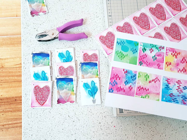 Gift tag designing and creating in the Minnie&Lou studio, Melbourne Australia