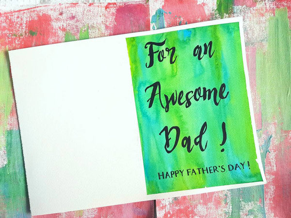 For an Awesome Dad Fathers Day Card by Minnie&Lou. 100% recycled card stock, green watercolour design.