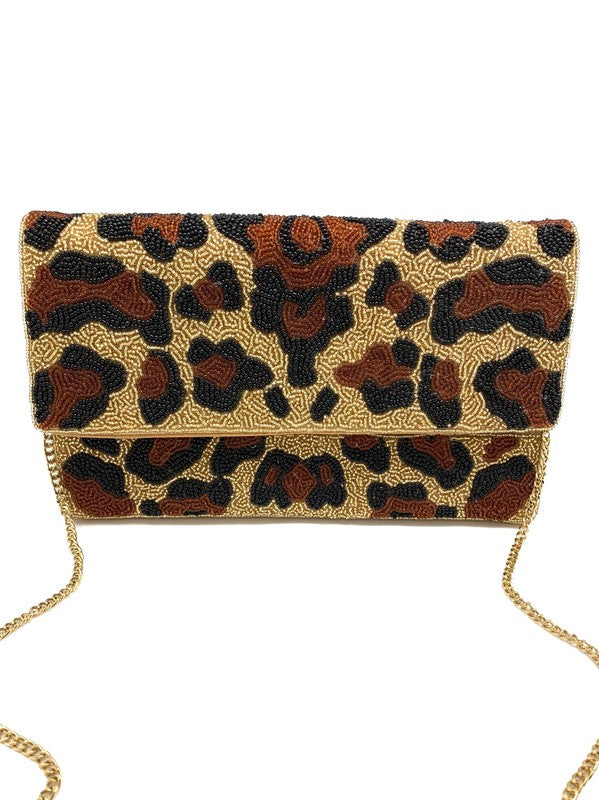 Leopard Pattern Beaded Clutch
