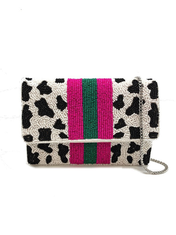 Cow printed beaded clutch