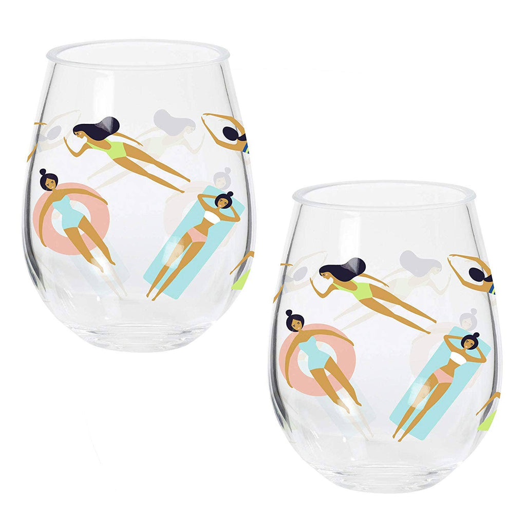 Pool Time Stemless Wine Glasse