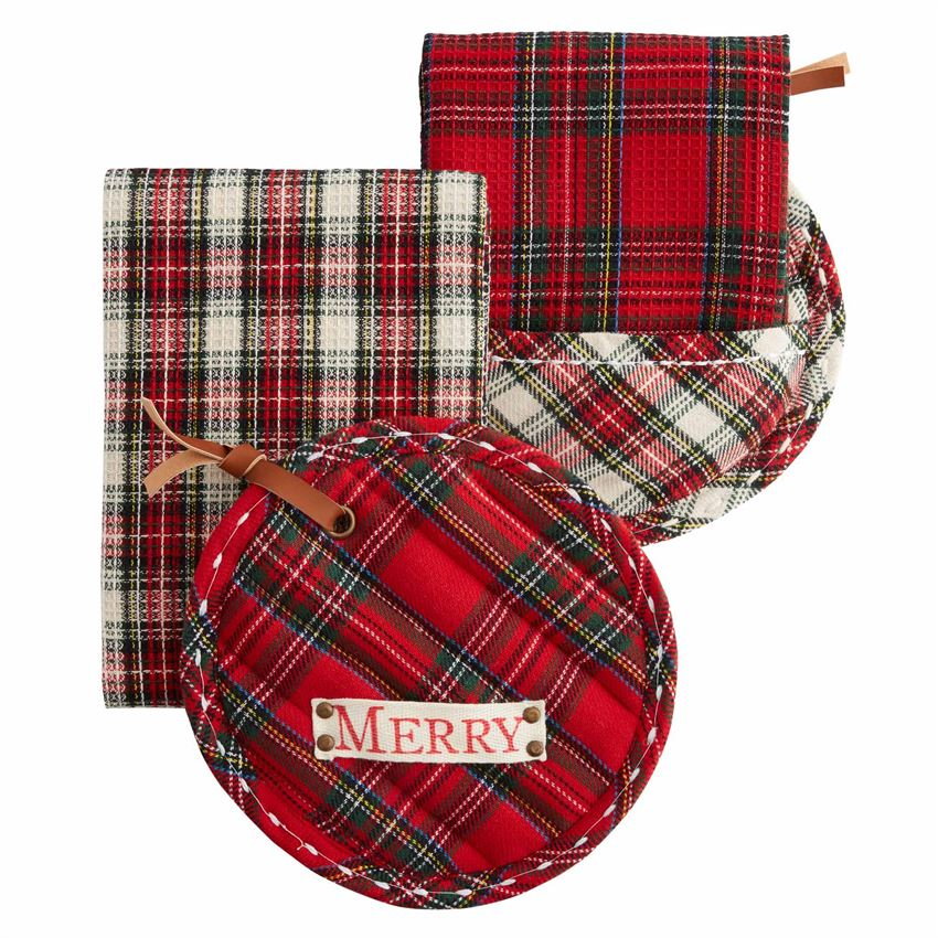 Tartann Pot Holder and Towel Set