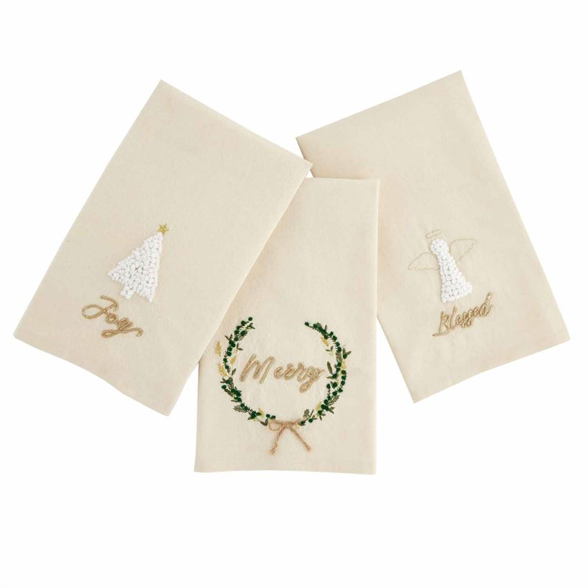 Gold French Knot Xmas Towels