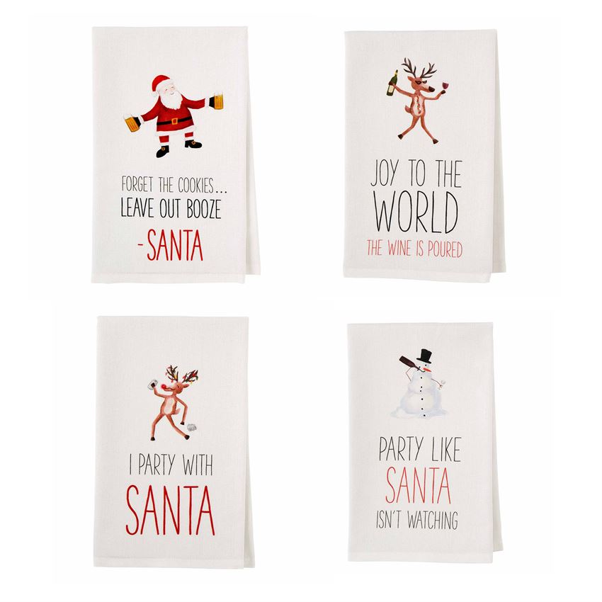 Christmas Drinking Tea Towel