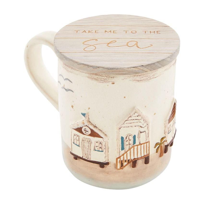 Beach House Scene Mug Set