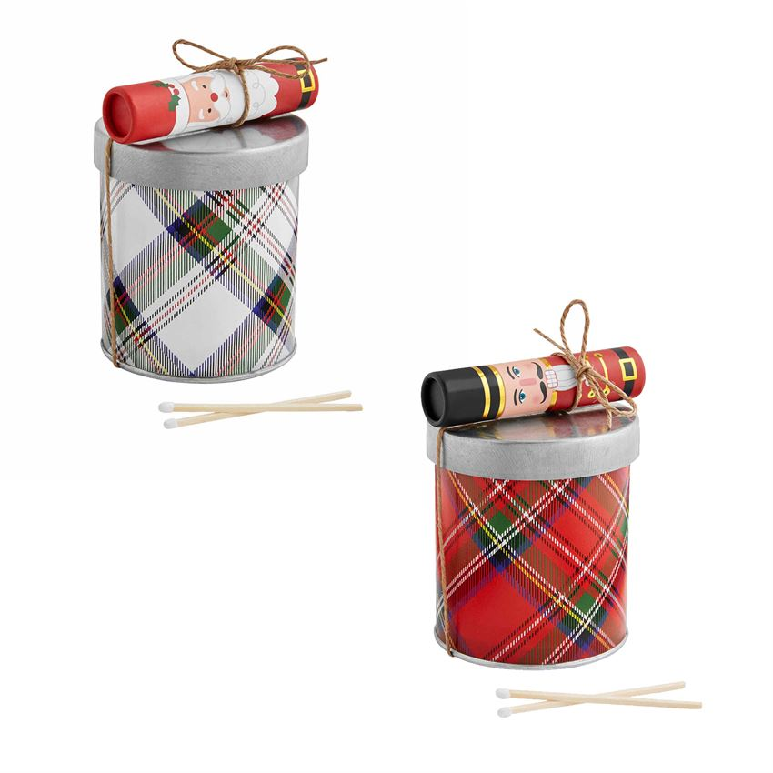Tartan Candle and match set