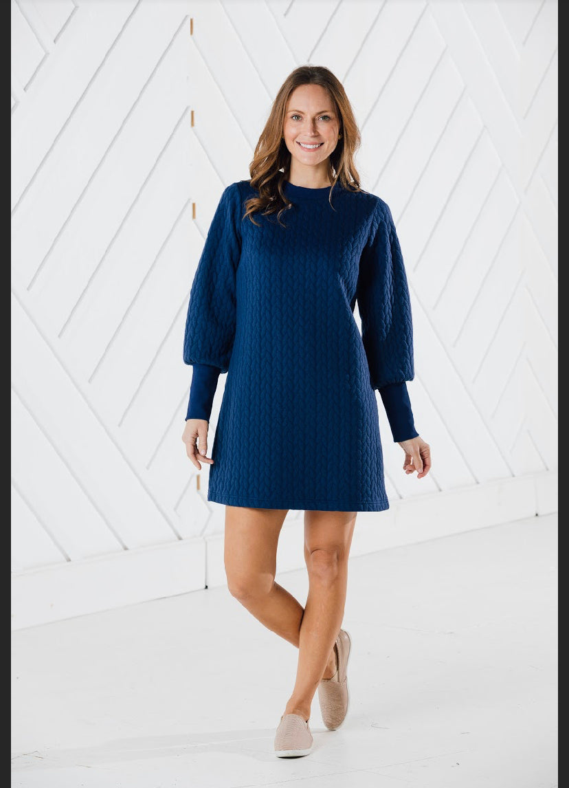 Rope texture long sleeve dress c921