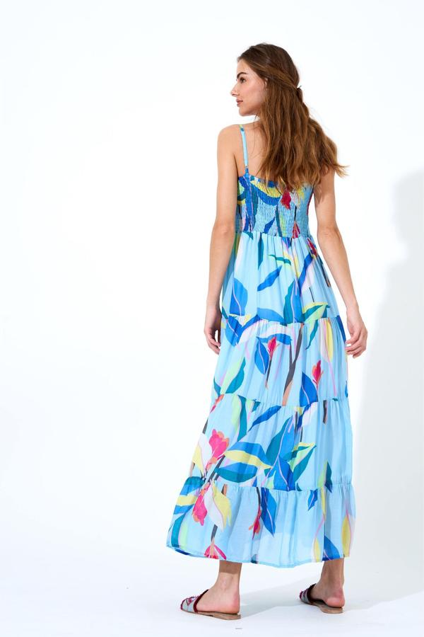 Oliphant SMOCKED BACK MAXI DRESS- BOTANICA BLUE
