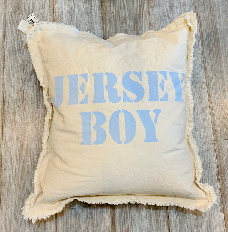 Jersey Boy Canvas frayed edge pillow