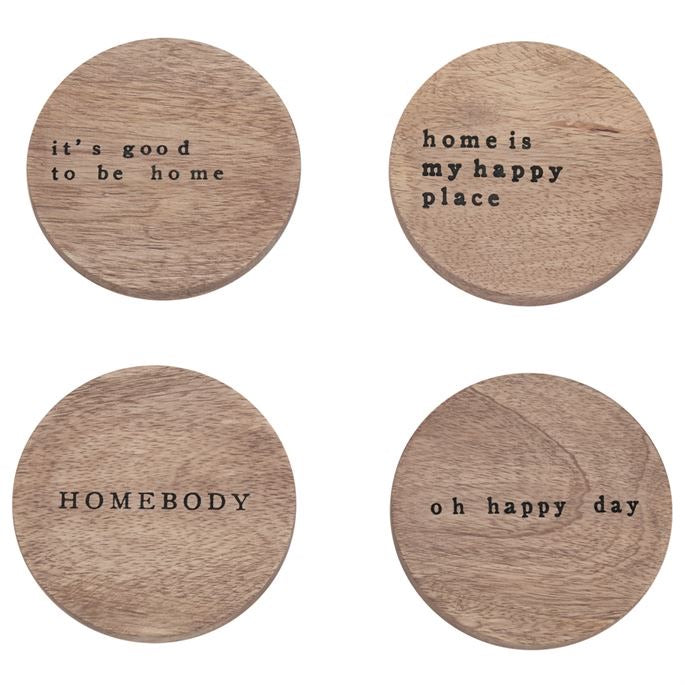 Mudpie Happy home wood coaster set