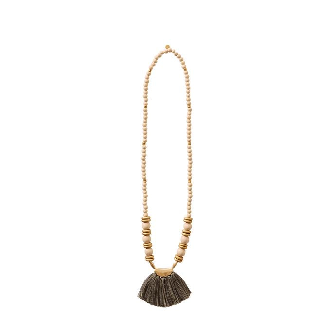 Tassel wood bead necklace (3 colors)
