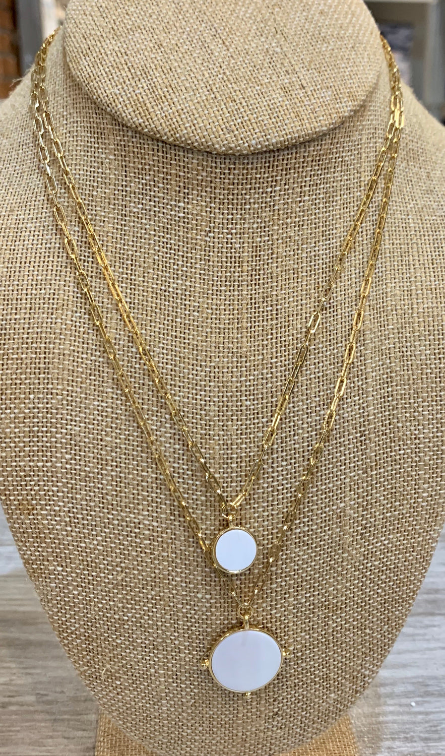 Necklace: double layer white disc necklace