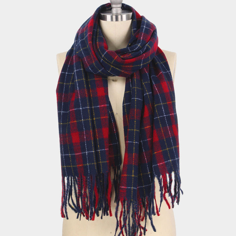 Plaid check tassel oblong scarf