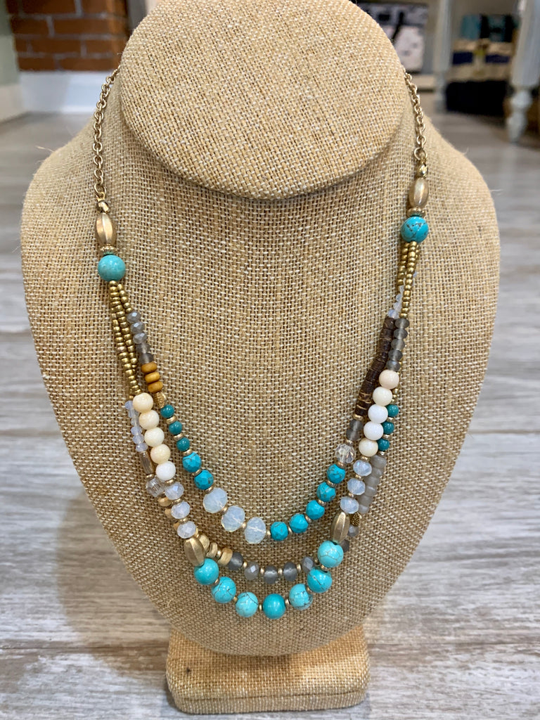 Necklace: multi strand beaded short necklace