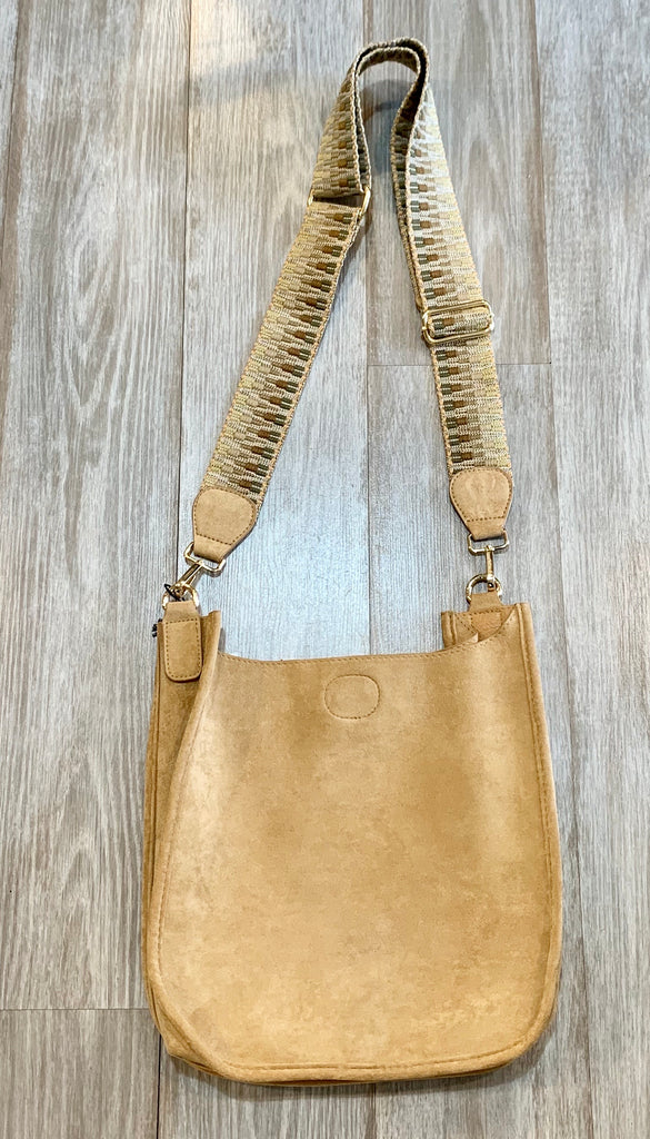 Ahdorned faux suede large messenger  crossbody bag (2 colors)