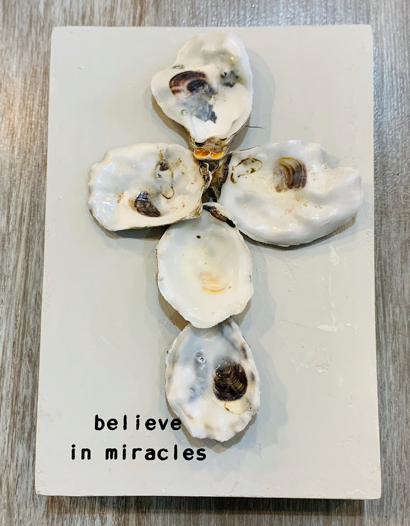 Mudpie Believe in miracles oyster shell cross