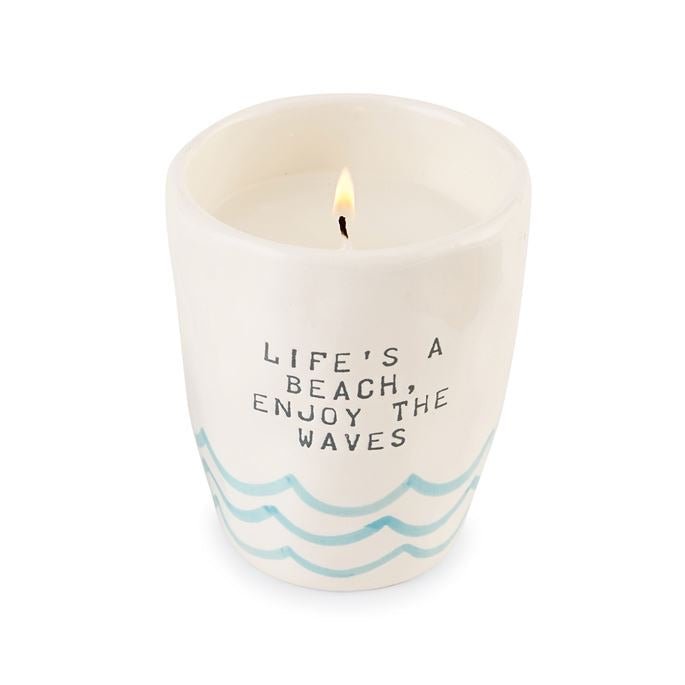 MudPie Life's a beach candle
