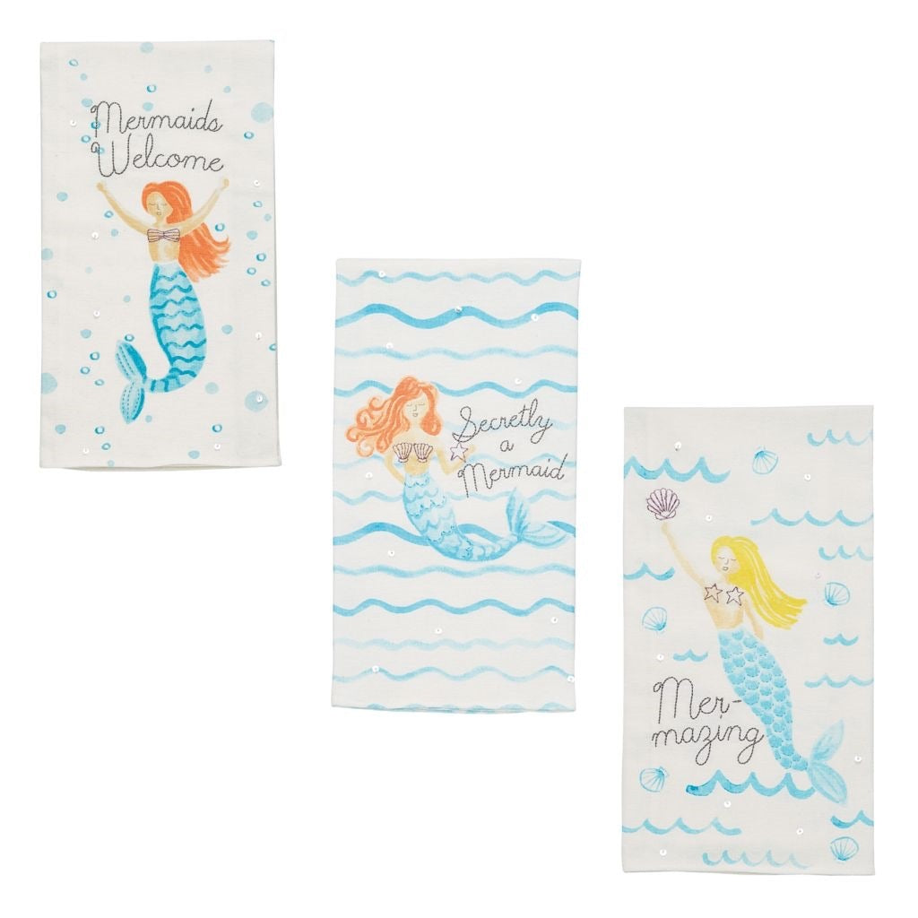Mudpie mermaid hand towel (3 options)