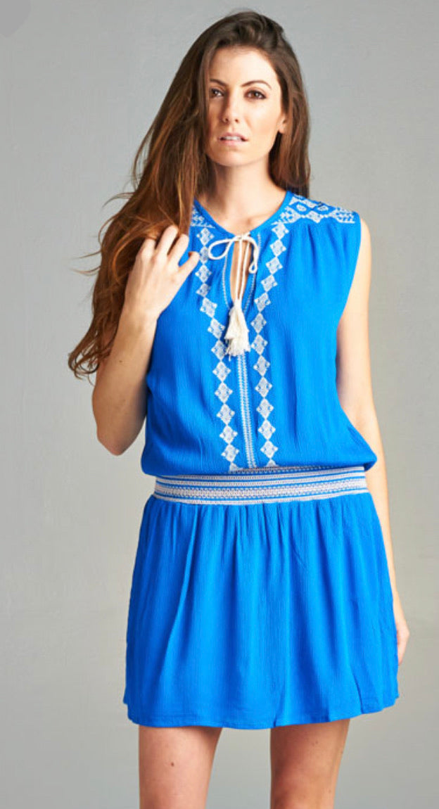Love stitch sleeveless embroidered cinched waist dress