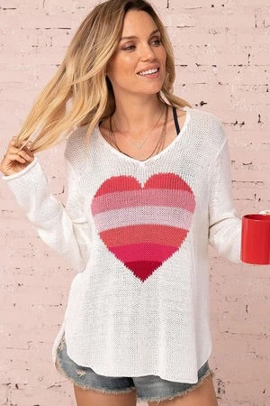 Rainbow heart sweater
