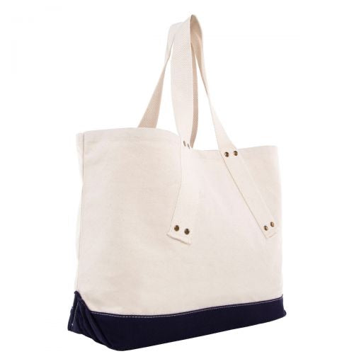 Canvas Grommet Tote- navy