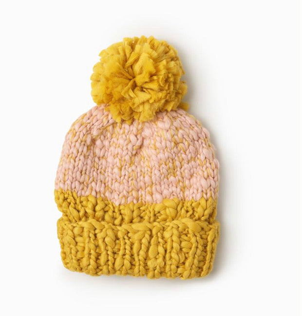 Two Tone Yarn Pom Pom Hat