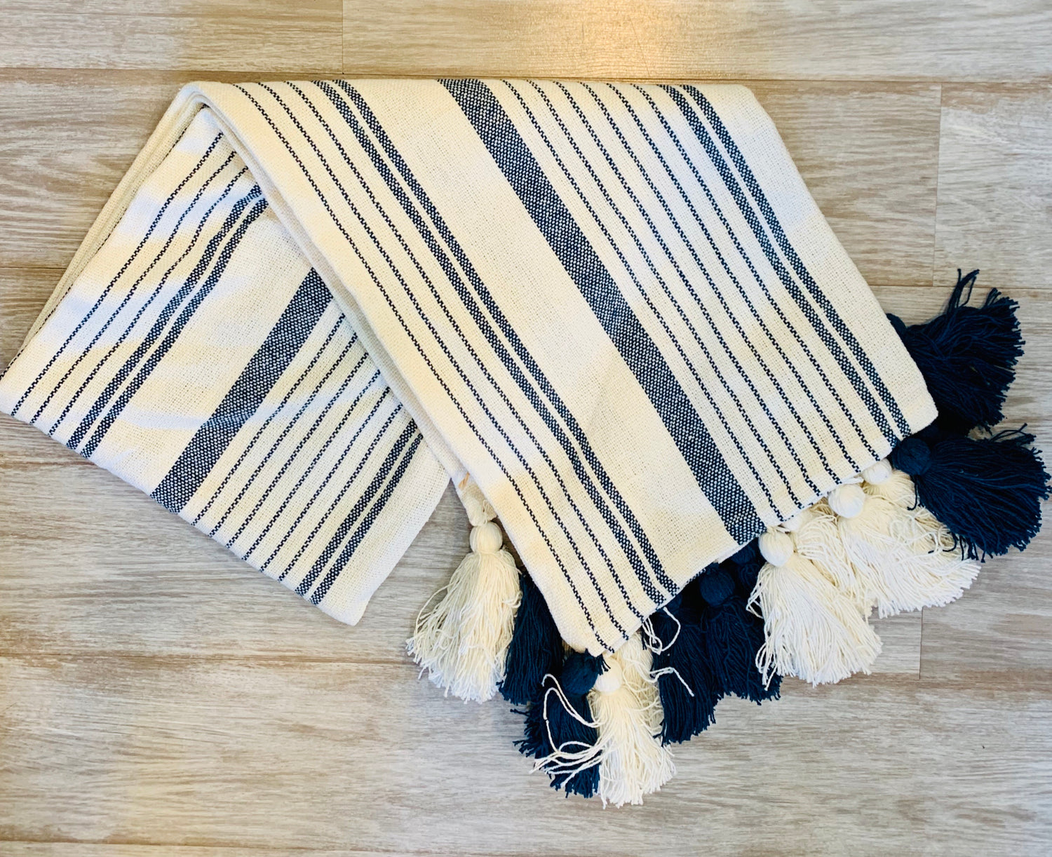 MudPie Striped Tassel Throw Blanket