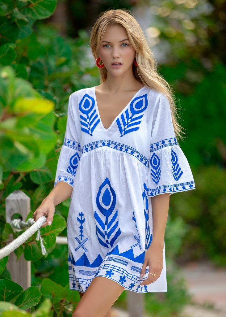 Bindu Salome Dress- blue/white