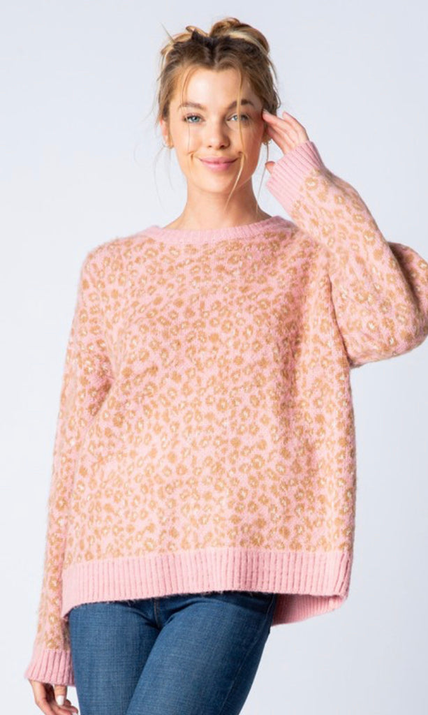 Leopard print crew neck sweater