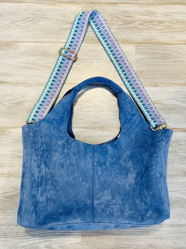 Ahdorned faux suede hobo bag w crossbody strap