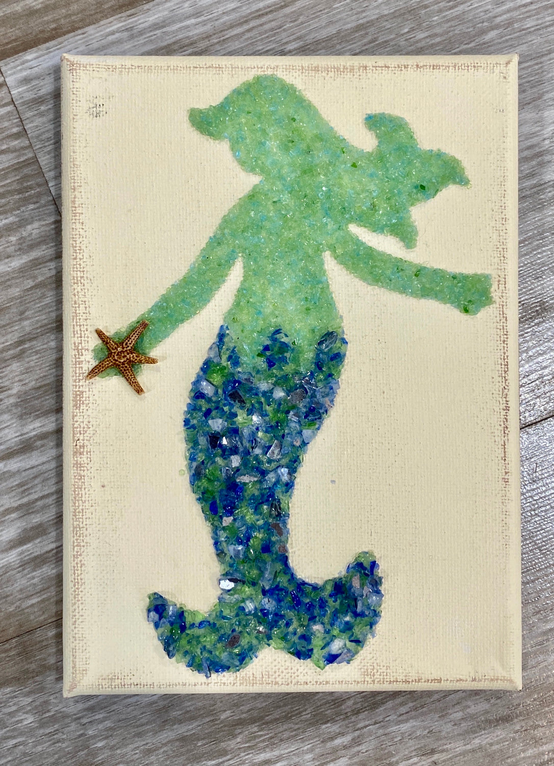 5x7 Mermaid- side view blue/green