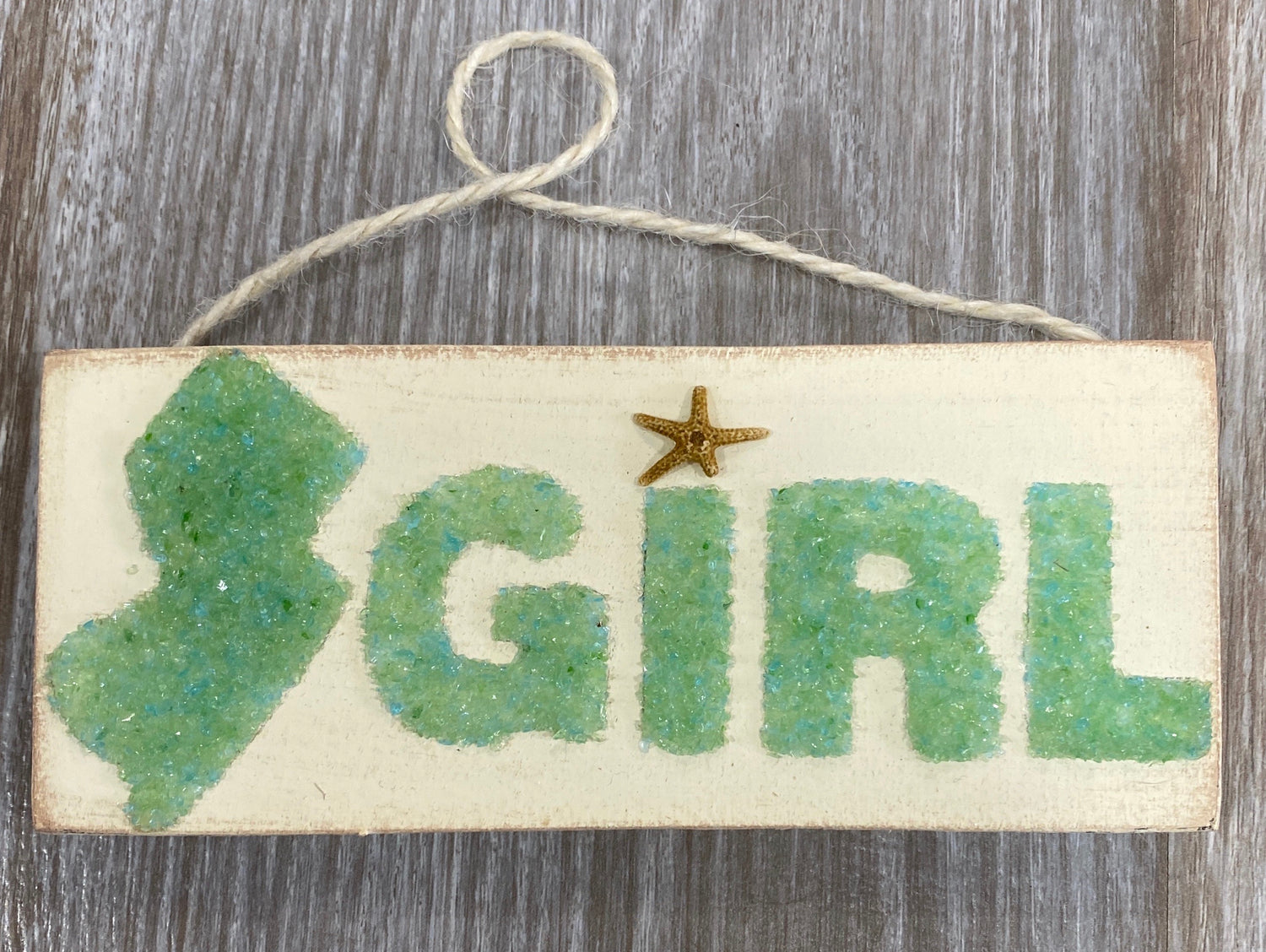 Jersey Girl mini hanging sign - green