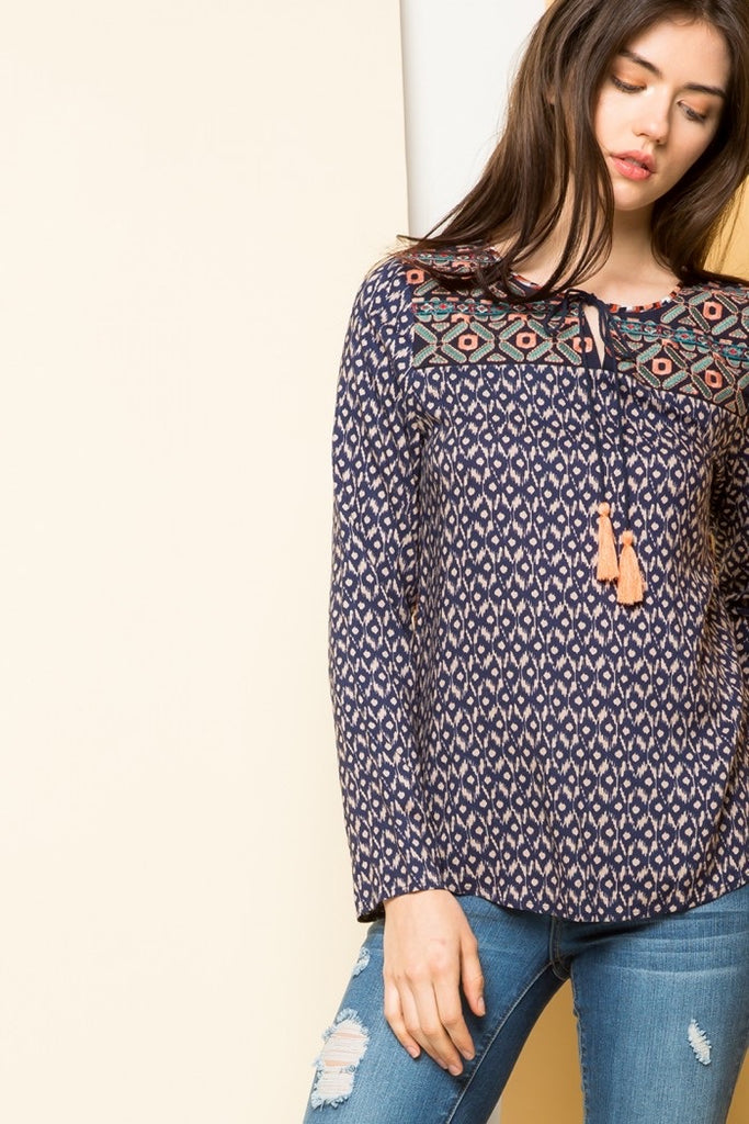 Ftm281- embroidered printed top