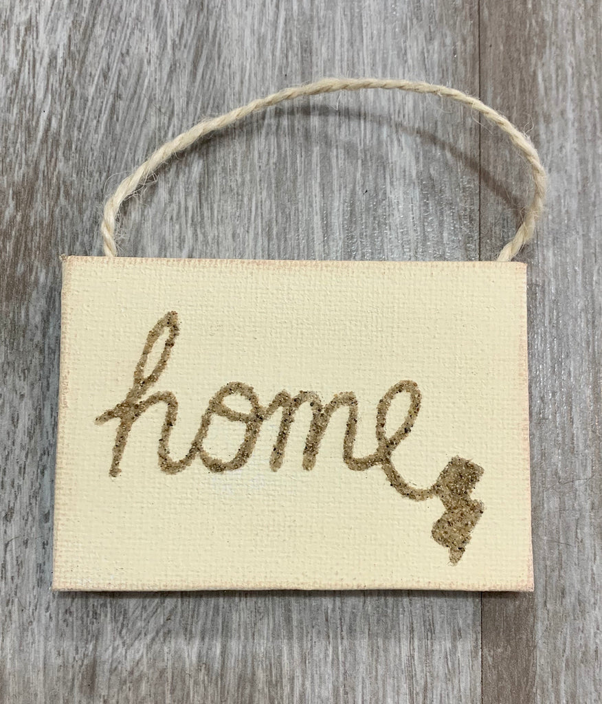 Home with NJ in script sand ornament