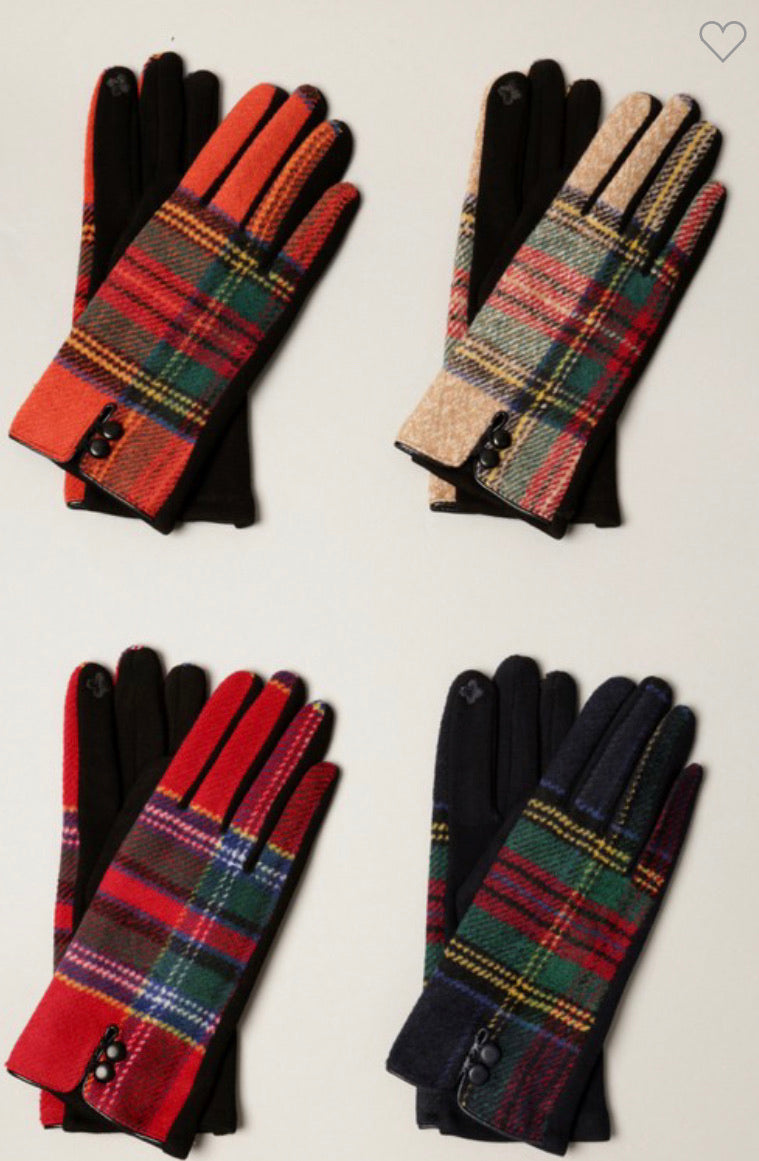 Winter plaid touch gloves