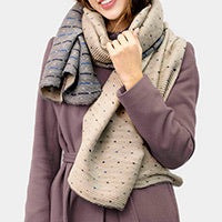 Soft reversible Polka dot pleated scarf