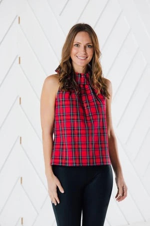 Red Plaid Cowl neck top