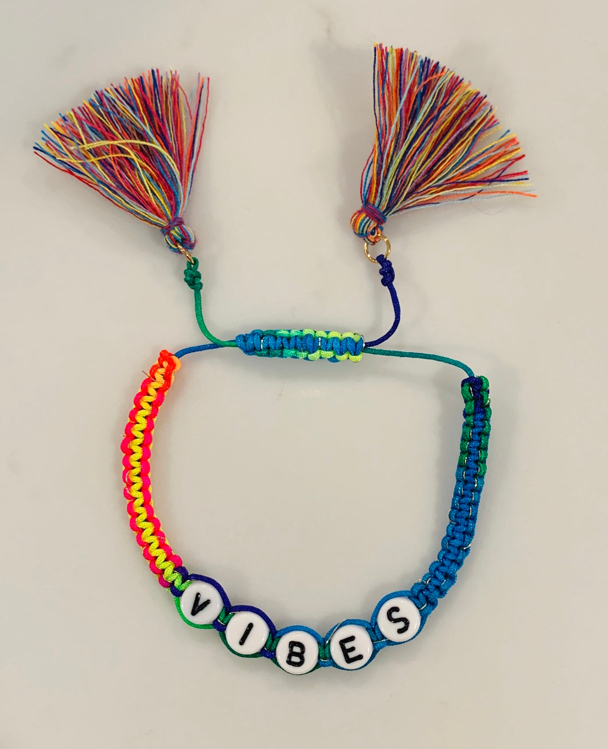 Rainbow tassel adjustable bracelet- vibes