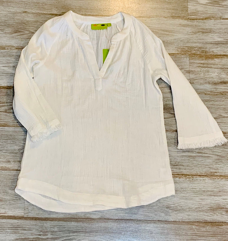 RFP Crinkle Tunic with frayed edge sleeve