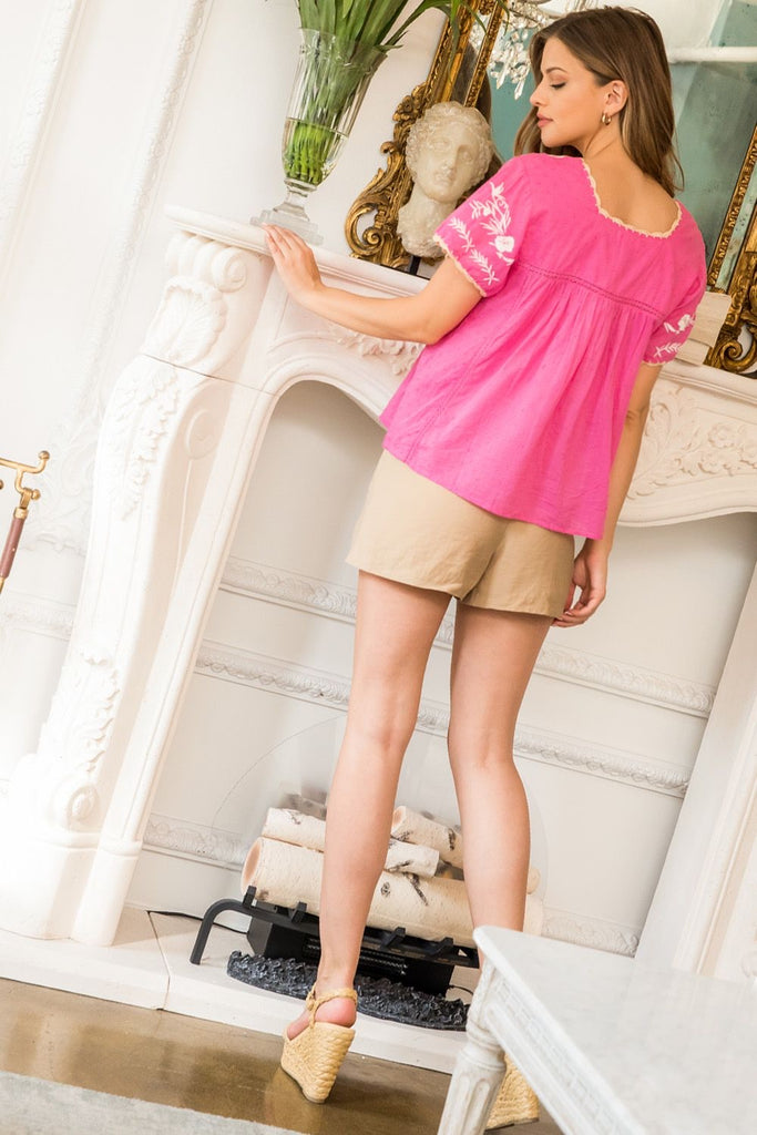 Short sleeve embroidered babydoll top