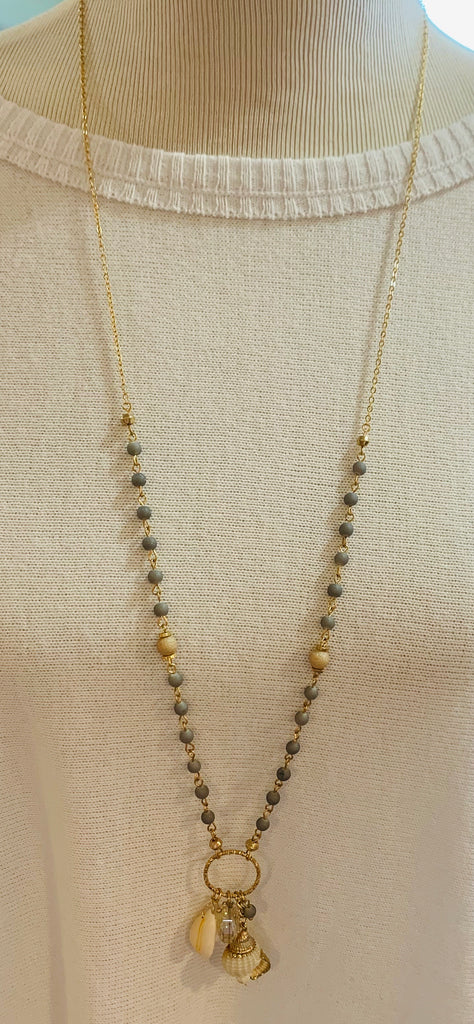 Long shell cluster beaded necklace