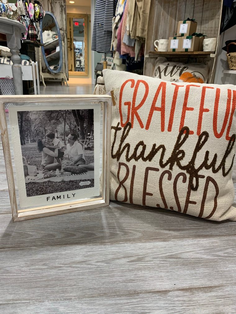Grateful, Thankful, Blessed Square Pillow