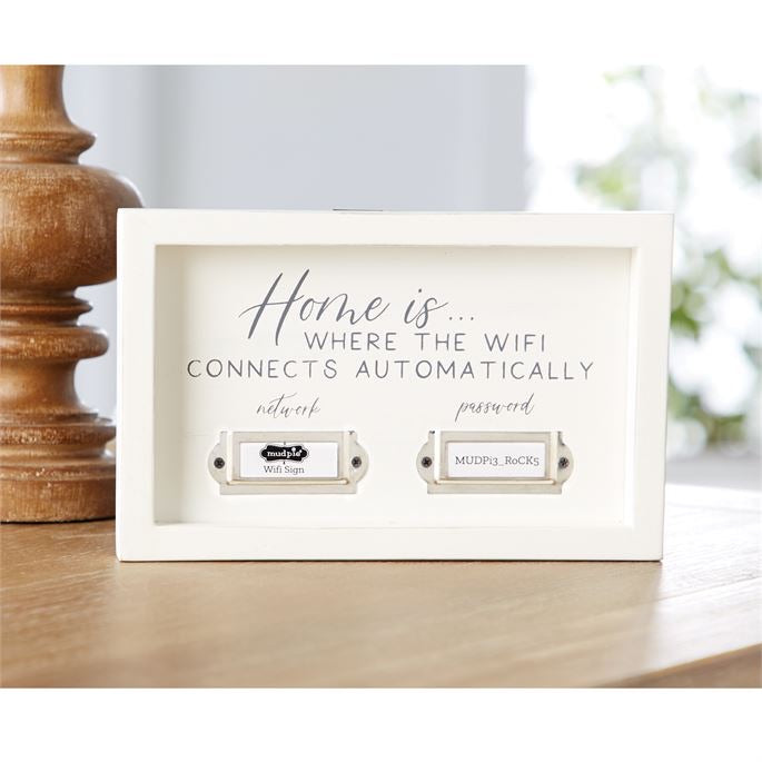 MudPie home WiFi plaque sign